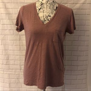 🔴Madewell whisper Vneck cotton pocket tee shirt